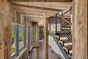 Contemporary staircase in Pound Ridge NY home by Nordic Construction