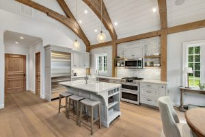 Kitchen in French Country Pool House